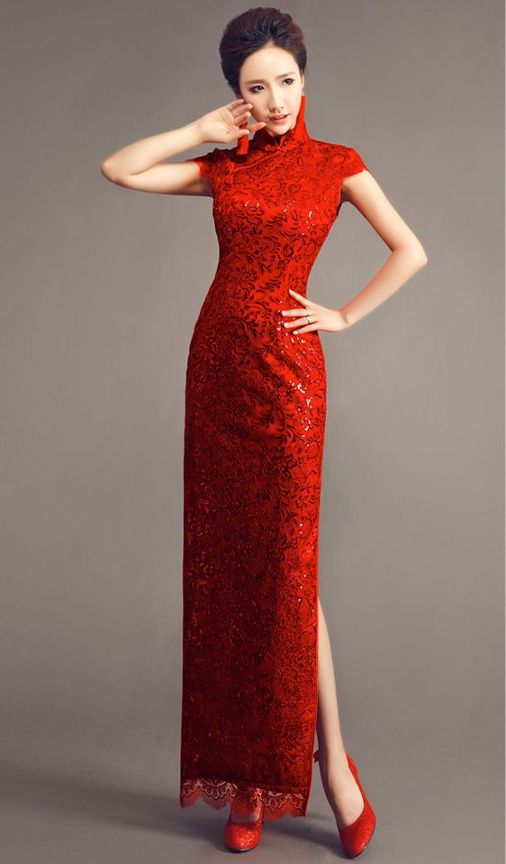 Solid red traditional long cheongsam sequin lace qipao for Asian red wedding dresses
