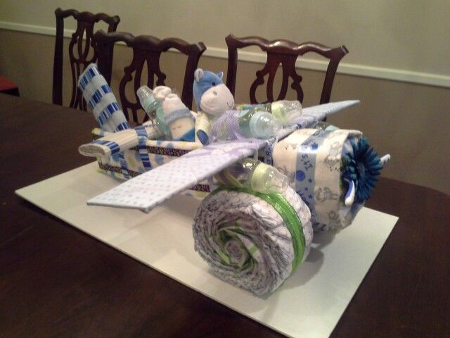 Airplane diaper cake | Airplane baby shower, Airplane ...