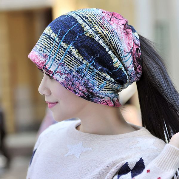 High-quality Women Thickening Warm Velvet Beanies Cap Colorful Printed Casual Bonnet Hat Cap And Scarf Dual Use - NewChic Mobile
