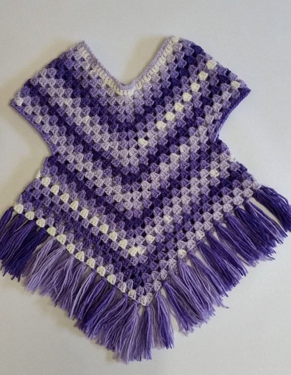 Purple poncho sweater crochet, Poncho with arms to fit 1 year old ...