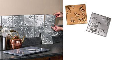 Set of 14 Tin Kitchen Backsplash Tiles