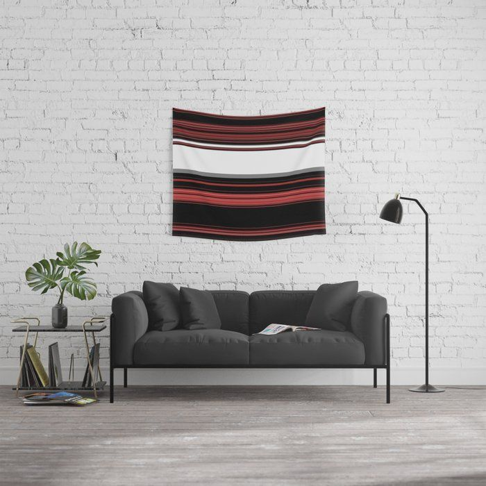Red, Black and White with Gray Stripes Wall Tapestry by jessielee72