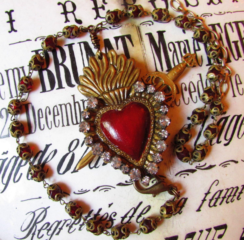 Milagros heart Ex Voto Sacred Heart pendant Rosary heart Necklace