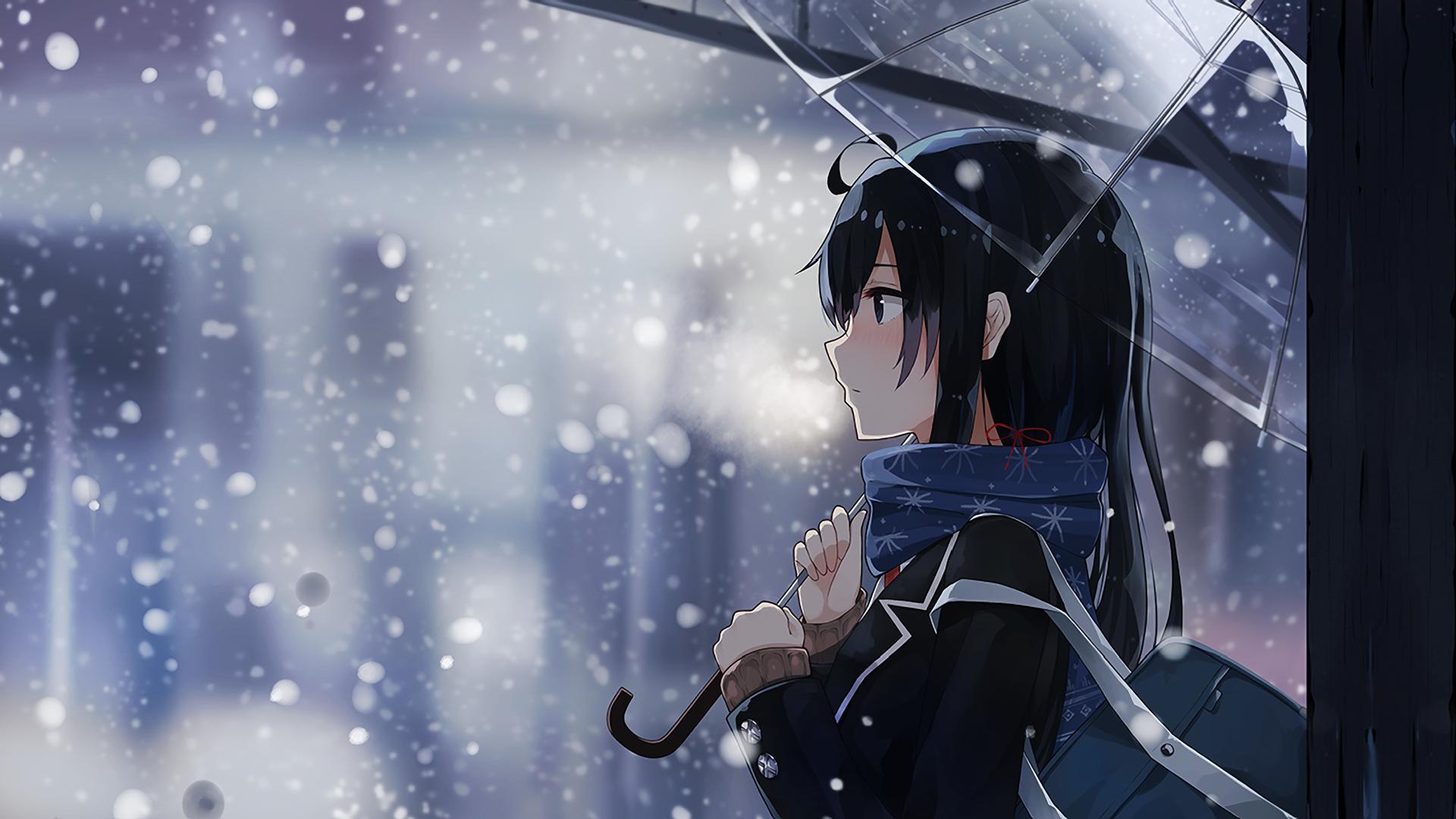 Anime Girls Anime Yukinoshita Yukino Yahari Ore No Seishun Love Comedy Wa Machigatteiru Umbrella Wallpaper Gambar Gambar Bergerak Gambar Anime
