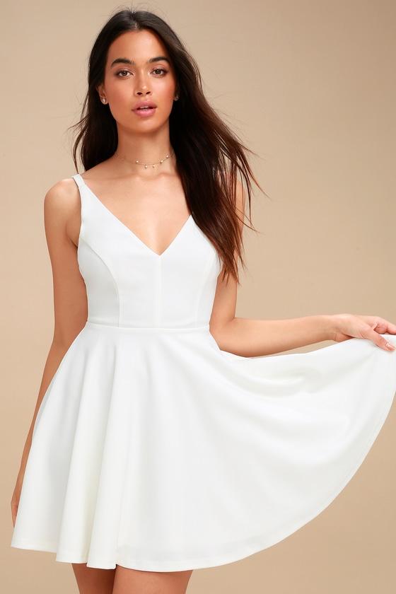 94a834845fb9 Lulus | Darling Delight White Skater Dress | Size Medium | 100 ...