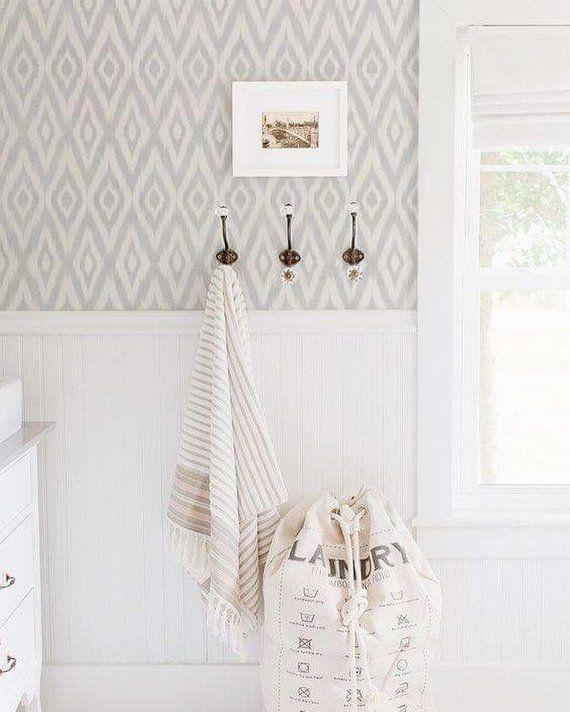 Photo of Ikat Gray Removable Wallpaper // Temporary Wallpaper