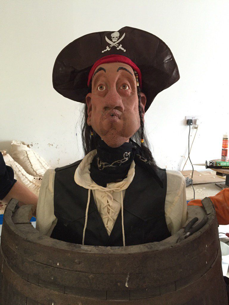 Animatronic Pirate in Barrel