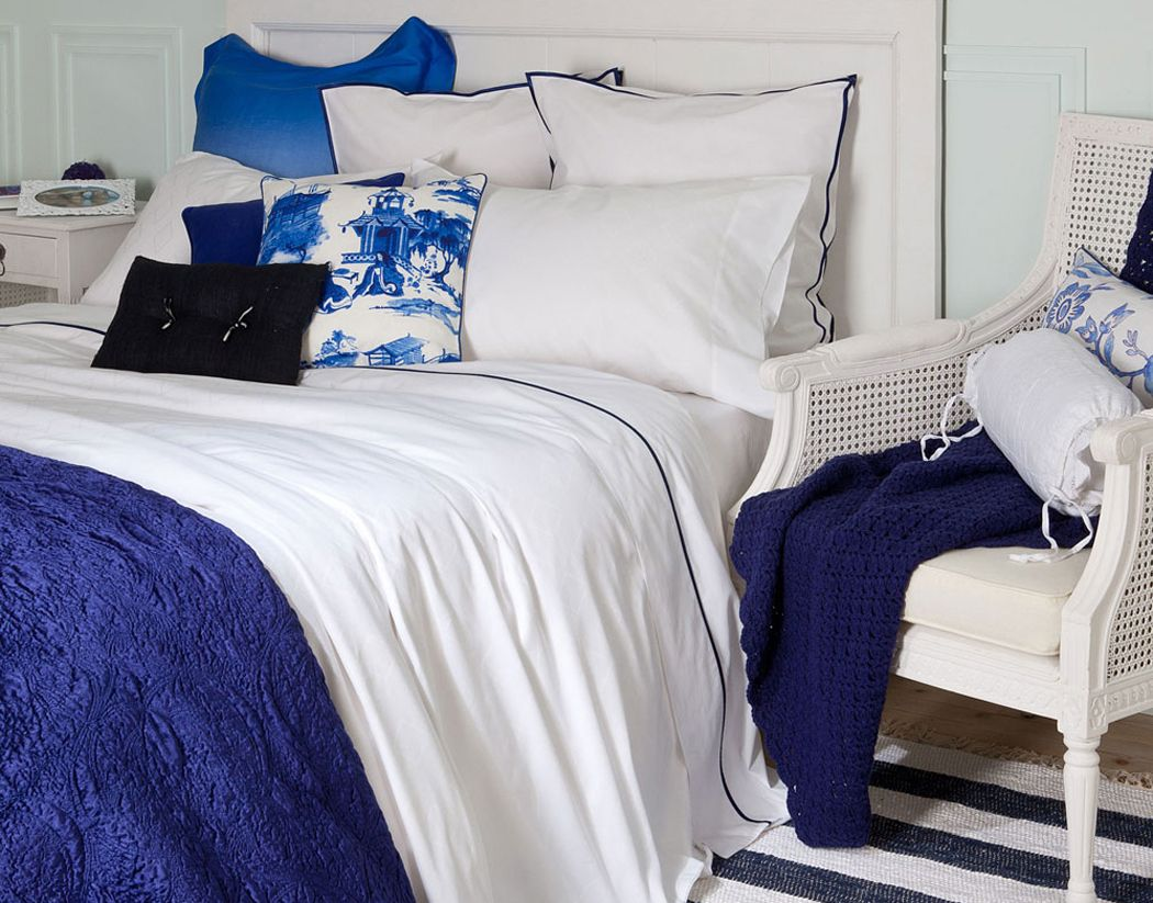Blue and white bedding - Zara Home Bedding I Love The Faded Blue White Pillow