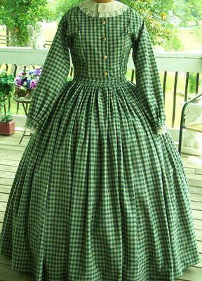 Civil War Dress Skirt Blouse 100 Cotton Homespun Plaid Custom Made 4 Colors | eBay.... Love this one too!