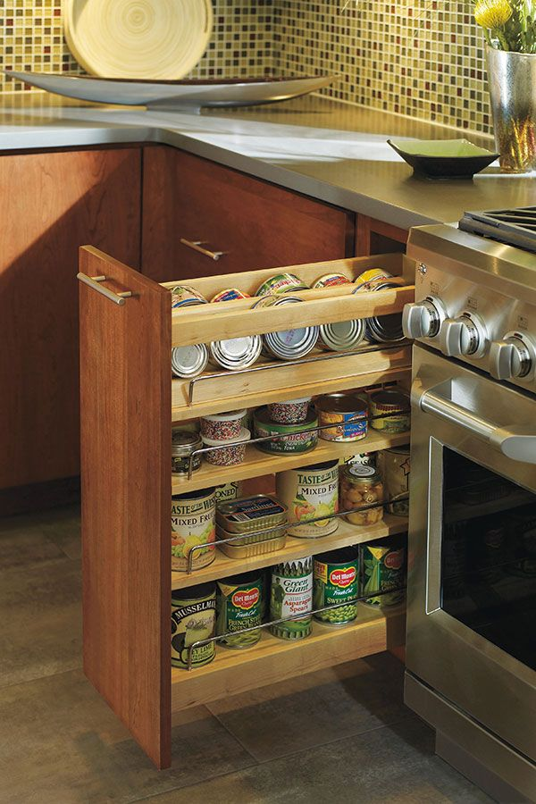 Our Spice Pull Out Cabinet Allows Cans Bottles Spices And Other Pantry Items To Stay Standing