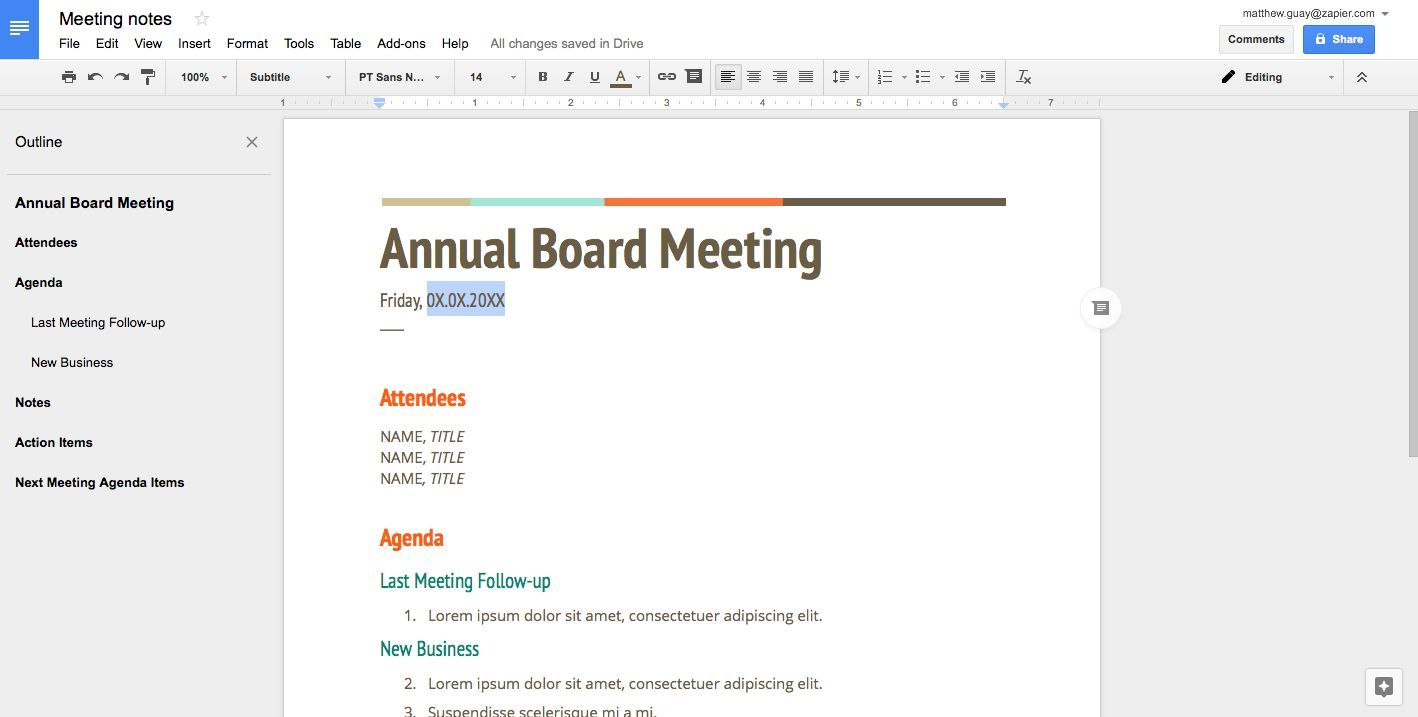How To Create A Fillable Template In Google Docs How To Do Anything In Apps Zapier Agenda Template Template Google Meeting Agenda Template Create template in google docs