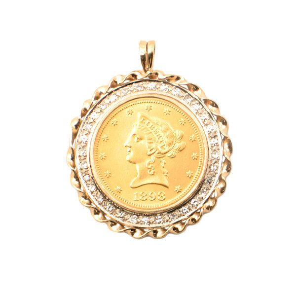 1898 Liberty 10 Dollar Gold Coin Pendant With 32 Diamond Bezel Over 1 1 4 Ctw Diamonds In 14k Gold Bezel Gold Coin Jewelry Coin Jewelry Yellow Gold Jewelry