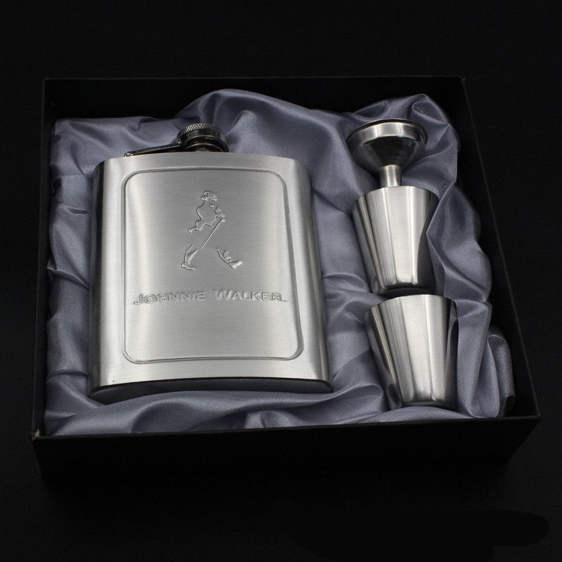 7oz Portable Stainless Steel Hip Flask Flagon Brand Whiskey Wine Pot Bottle Funnel Cup Travel Tour Walker Classic Drinkware H Flask Hip Flask Whiskey Flask