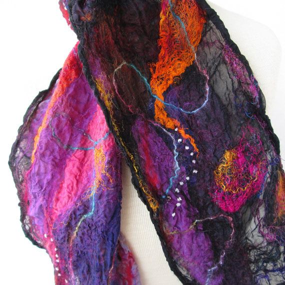 Nuno felted scarf in black fuchsia purple and by BlindSquirrel