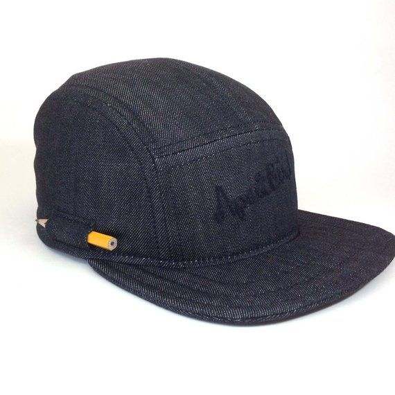 09d84b4b3fcf9a Black Baseball Cap Pencil Hat Handmade 5 Panel Hat Snapback Hat Five panel  hat Camper cap Baseball H