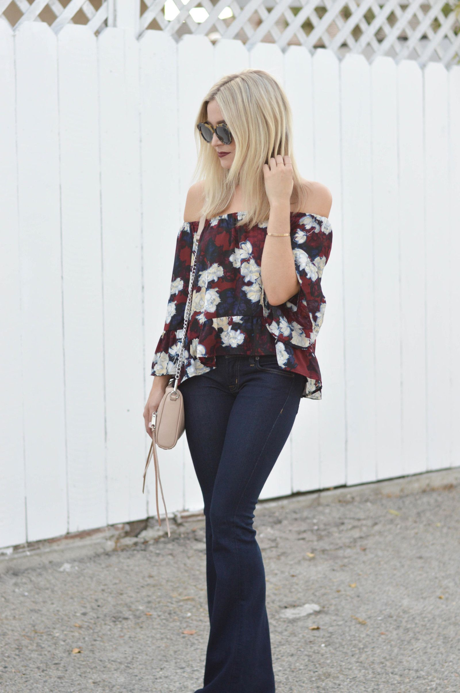 Off the shoulder blouse for fall polkadotsandsailorstripes