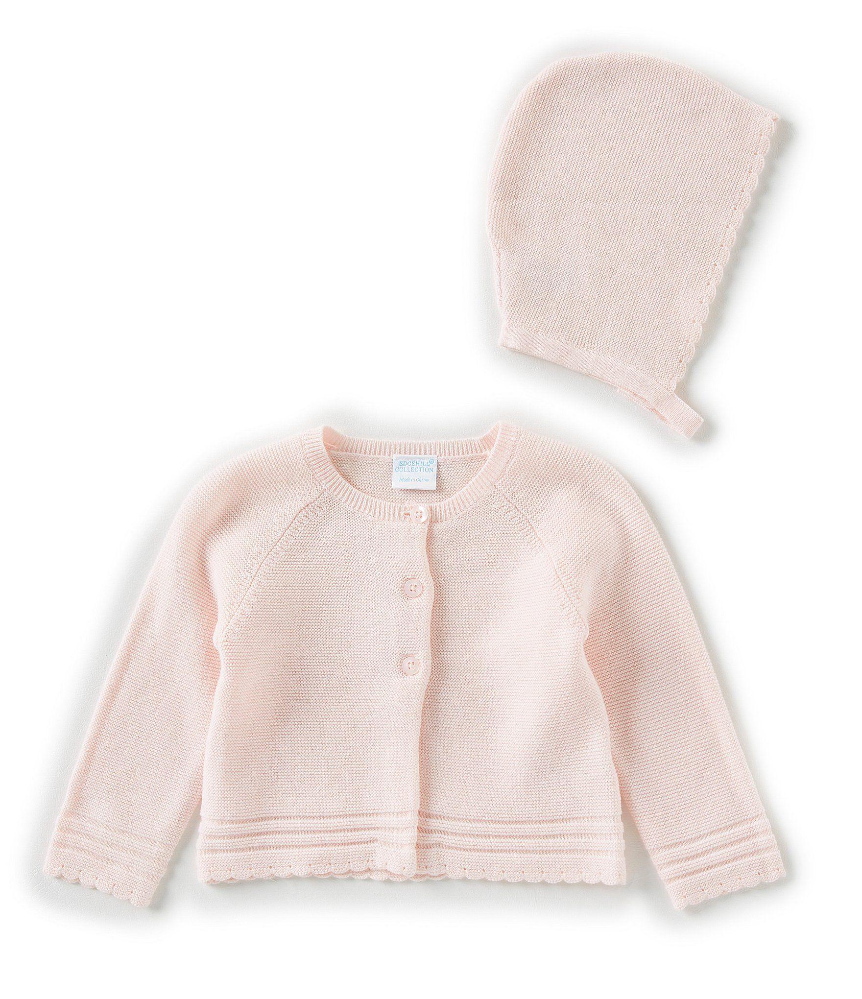 Photo of Edgehill Collection Baby Girls Newborn-6 Months Scallop Sweater  Knit Bonnet – Pink Newborn