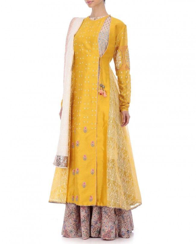 Bajirao Mastani Yellow Printed Kurta Set | Mastani dress ...