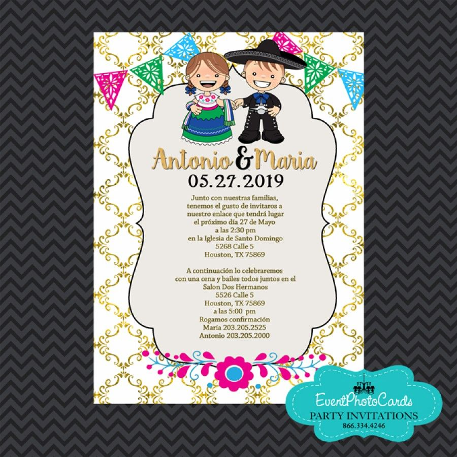 Mexican Invitations Wedding Gold