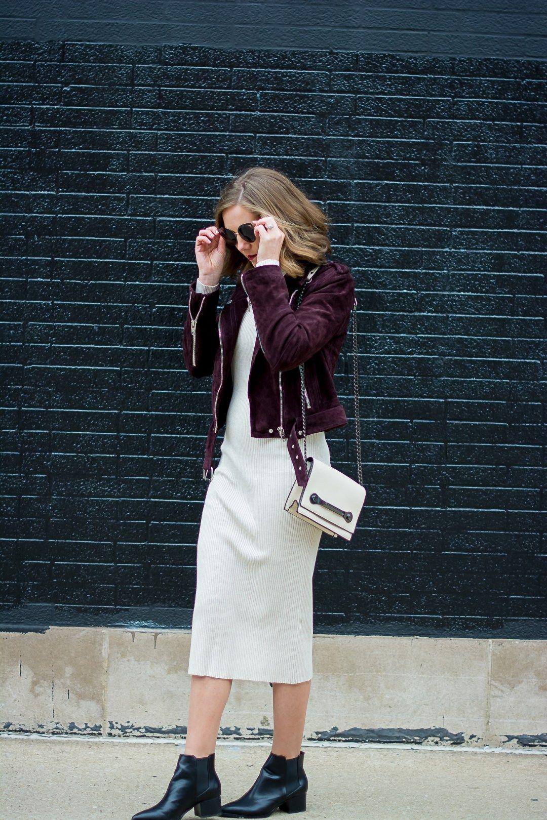 34ec611d zara-rib-knit-bodycon-midi-dress-blank-nyc-burgundy-suede-moto -jacket-forever-21-cream-crossbody-black-pointed-justfab-ankle-boots