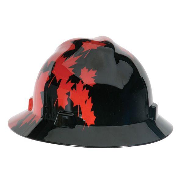 Msa V Gard Hard Hat Full Brim Canadian Black With Red Maple Leaf Red Maple Leaf Canadian Flag Hard Hat