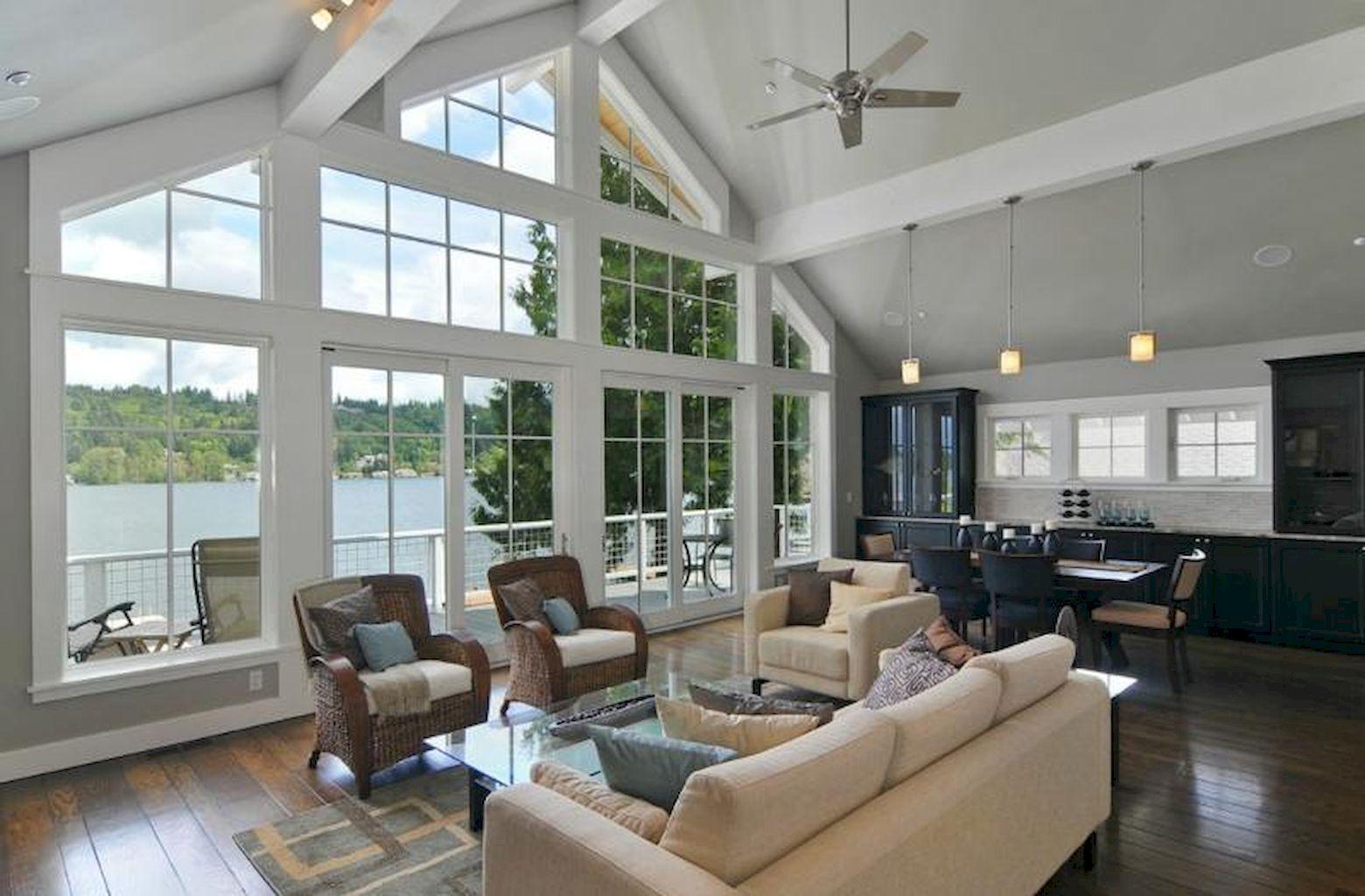 50 Beautiful Lake House Living Room Ideas images