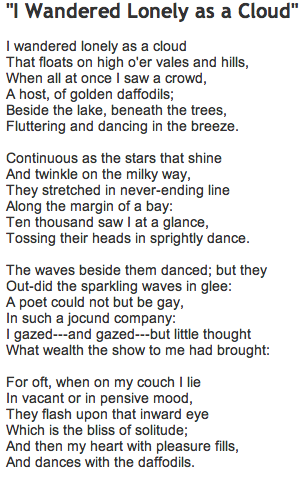 William Wordsworth I Wandered Lonely A Cloud Poetry Word Poem Beautiful Essay On