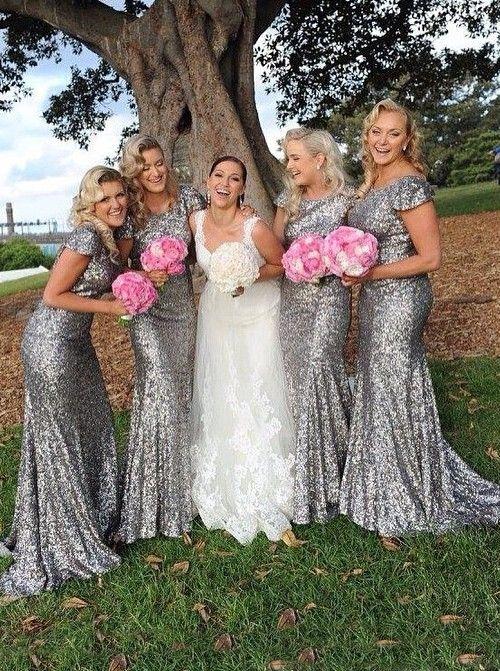 Grey Mermaid Bridesmaid Dresses