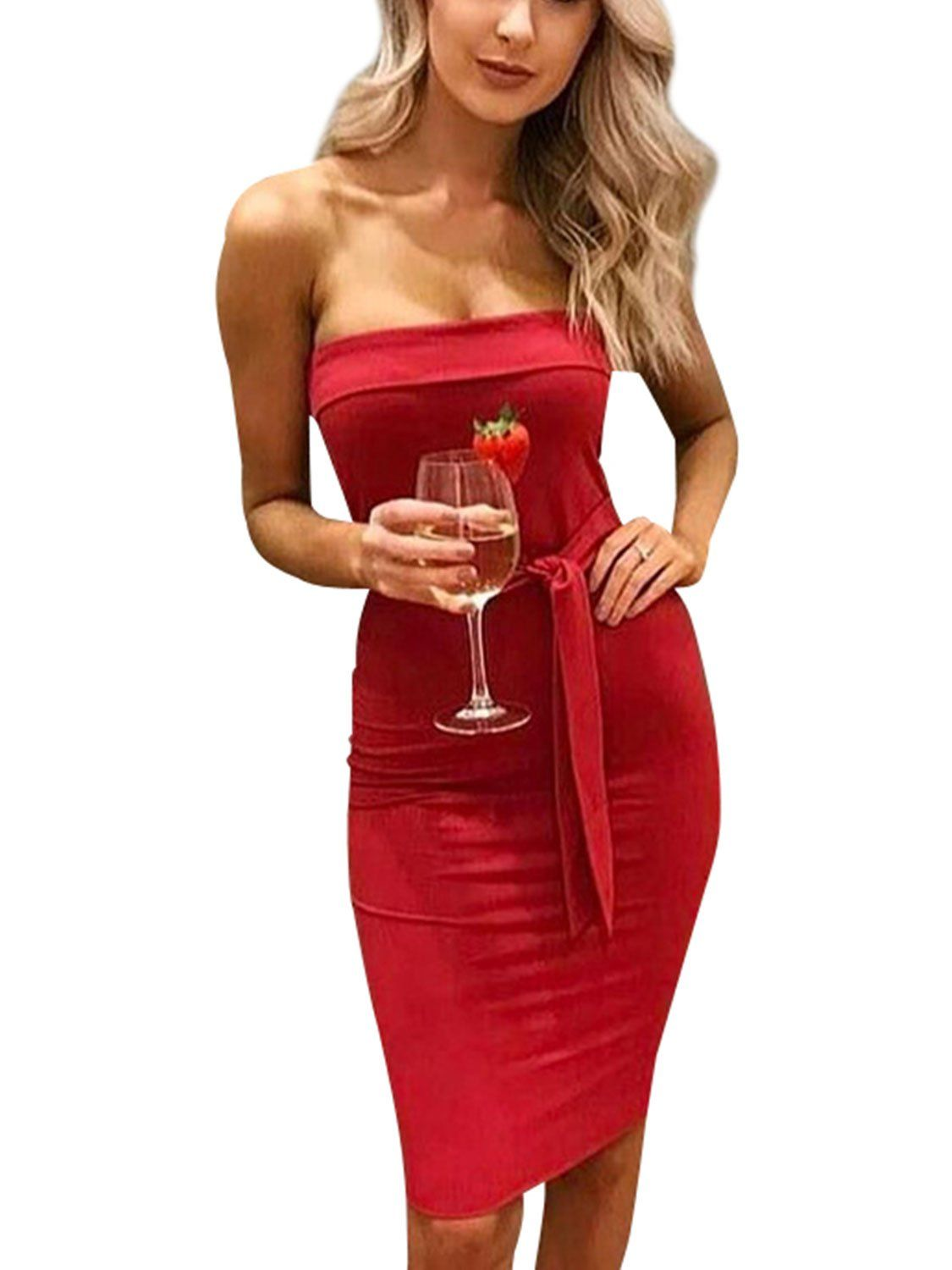 94143760f48 Simplee Apparel Womens Party Clubwear Sexy Strapless Mini Bodycon Dress Red    Visit the image link more details. (This is an affiliate link)   ...