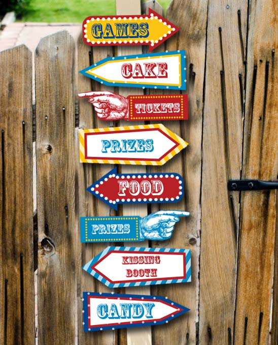 carnival party signs printable editable text pdf instant download