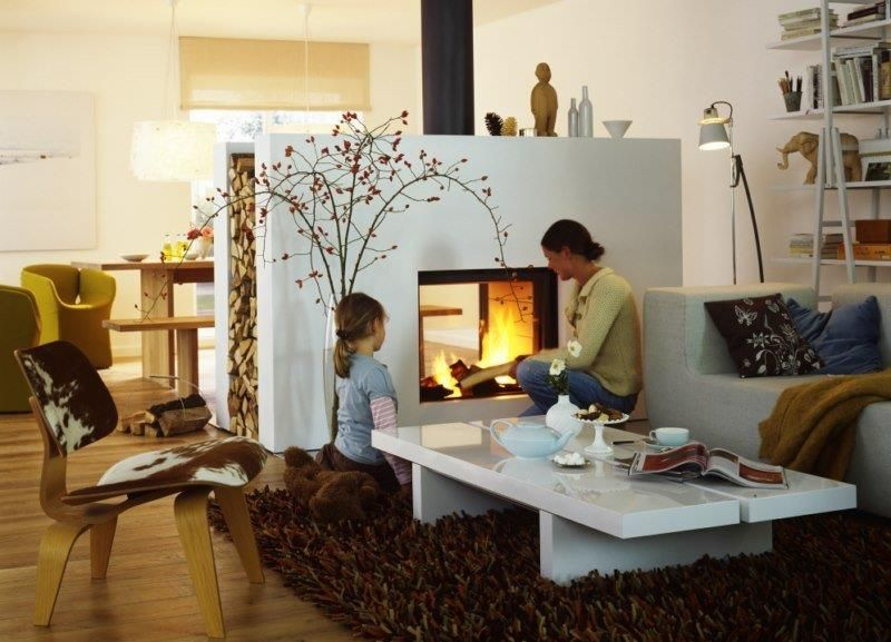 Salon avec cheminée rectangulaire blanche | maison | Pinterest ...