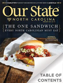 February 2015 issue - the famous Pork Chop sandwich Mt. Airy, NC (aka Mayberry) at Snappy Lunch. A MUST-HAVE sandwich.