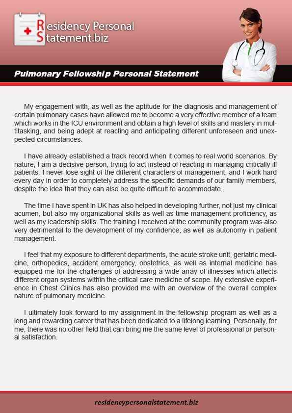 Pulmonary Fellowship Personal Statement Pulmonary Fellowship   Sonographer  Resume  Sonographer Resume