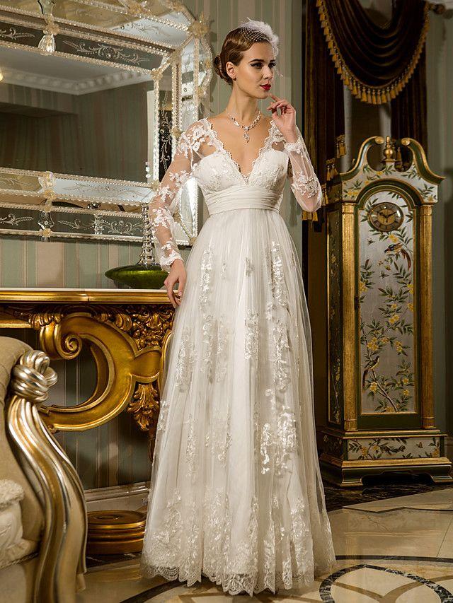 Lanting Bride Sheath Column Petite Plus Sizes Wedding Dress Floor Length V