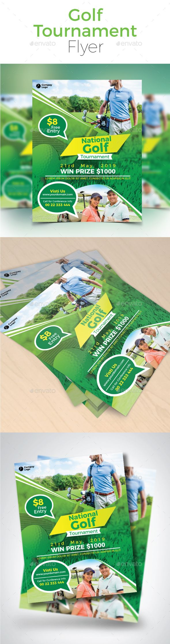 Golf Tournament Flyer  Flyer Template Adobe And Illustrator Cs