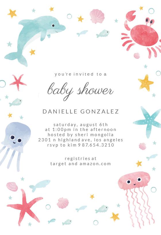 Sea Baby Shower Invitation Template Free Greetings Island Free Baby Shower Invitations Baby Shower Invitation Templates Pool Party Invitation Template