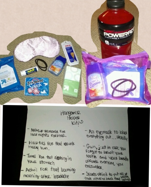 Gift Ideas For Wedding Helpers: Hangover Helper Kit! :) PERFECT 21st Birthday Gift! All