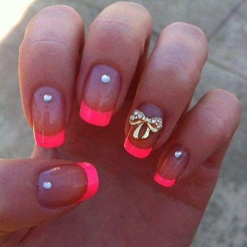 Hot Pink Tips - Rhinestones - Gold Bow - Nail Art