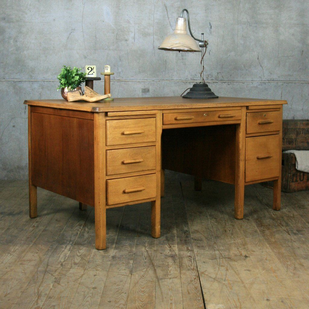 Large Vintage Oak School Teachers Desk - Large Vintage Oak School Teachers Desk Desks, Vintage And Room