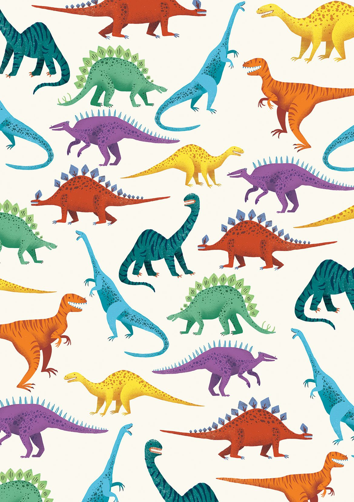 Rachael Saunders #illustration #dinosaurs #patterns #children #wallpaper #rainbow #t-rex #diplodocus #dinosaurillustration
