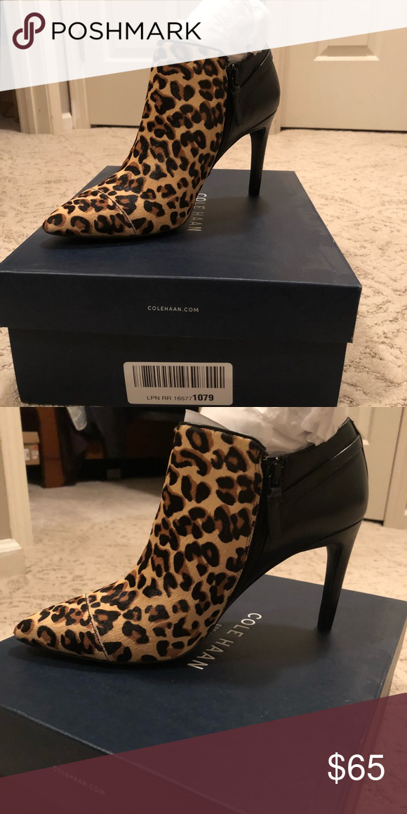54f483071289 Cole Haan Printed Heeled Bootie Never worn before, brand new with tags and  box! Leopard print and leather healed bootie Cole Haan Shoes Ankle Boots &  ...