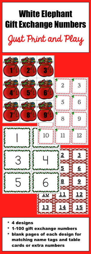 White Elephant Gift Exchange Numbers Just Print and Play