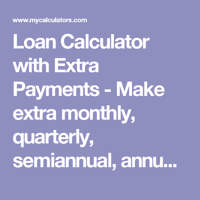 Loan Calculator With Extra Payments Make Extra Monthly Quarterly Semiannual Annual Or One Time Only Payments To Loan Calculator Amortization Schedule Loan