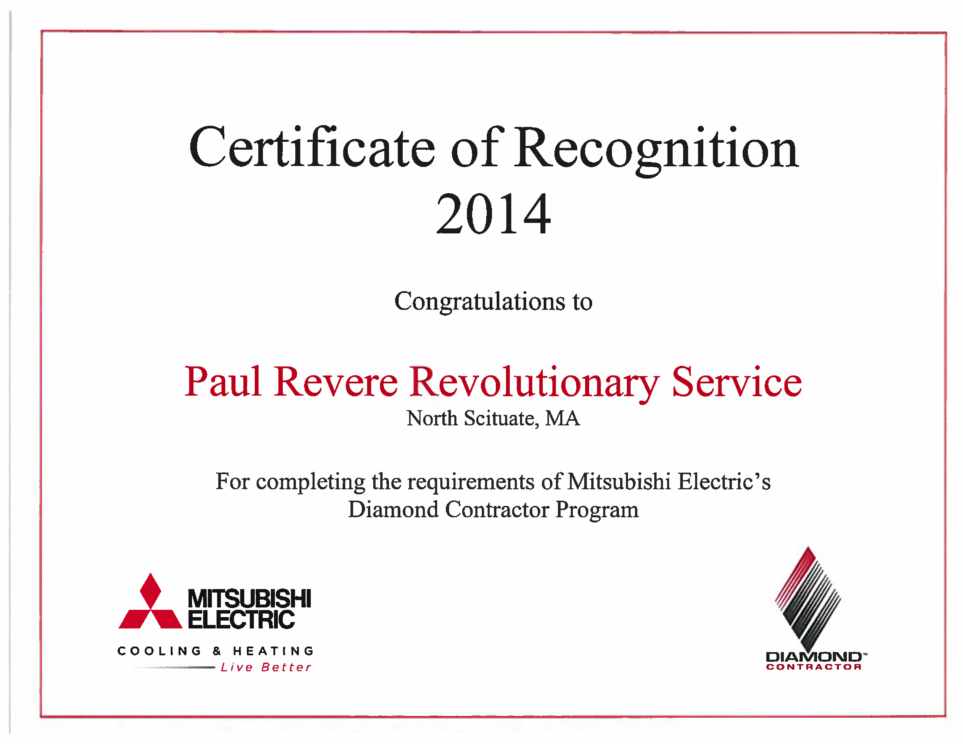 Certified Diamond Contractor Mitsubishi Electric Cooling Revere