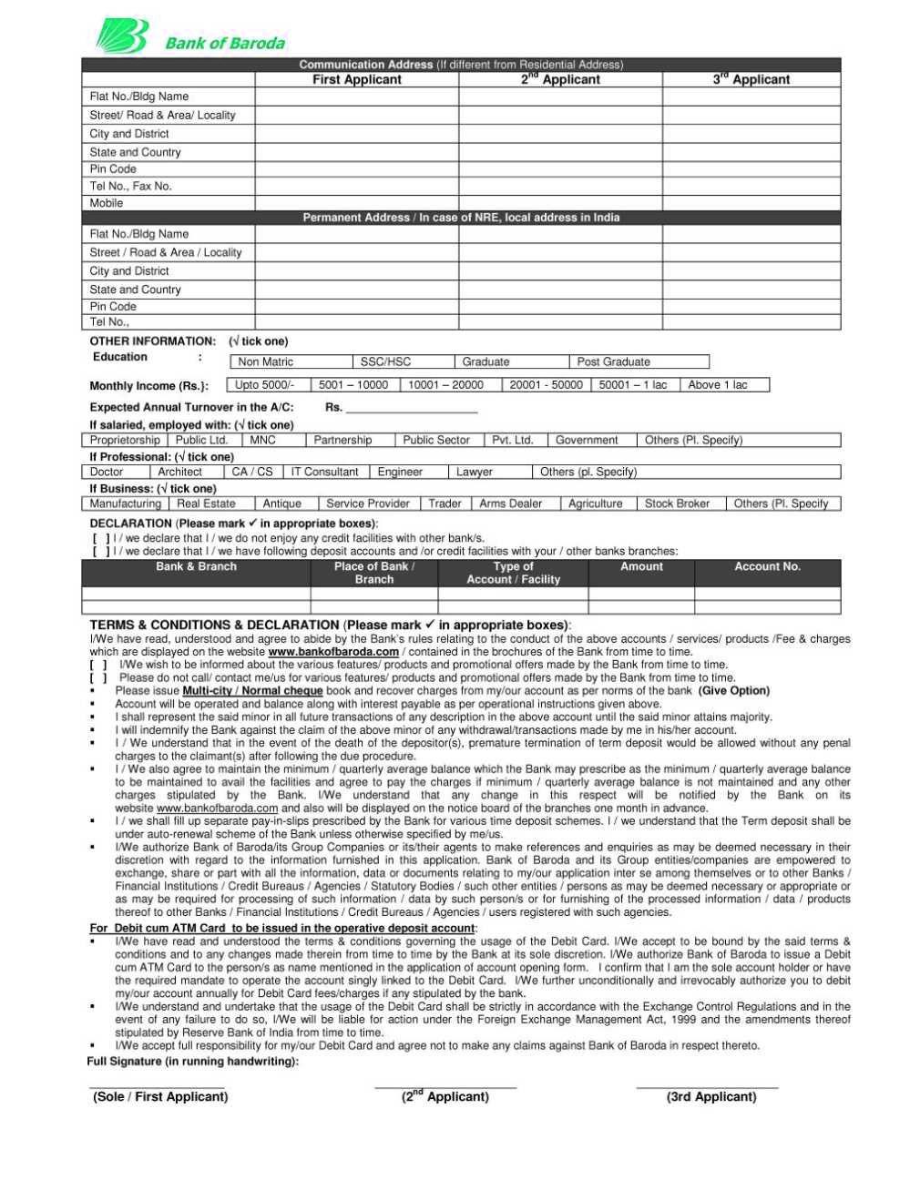 application form bank of baroda baroda account opening form  Bank of baroda, Baroda, Accounting