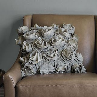 Rose Cushion Tutorial - maybe sew flowers on in a spiral instead of the finished bud so they take up more surface area