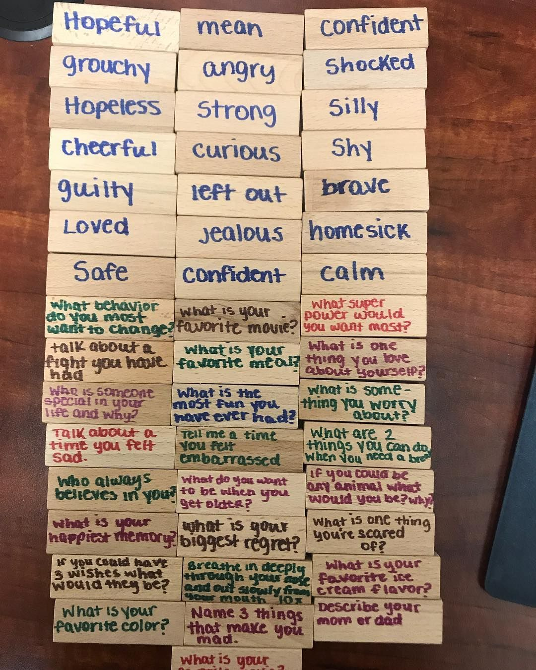 The Utic Jenga Used To Talk About Feelings And Get To Know Clients Better Great For Teens