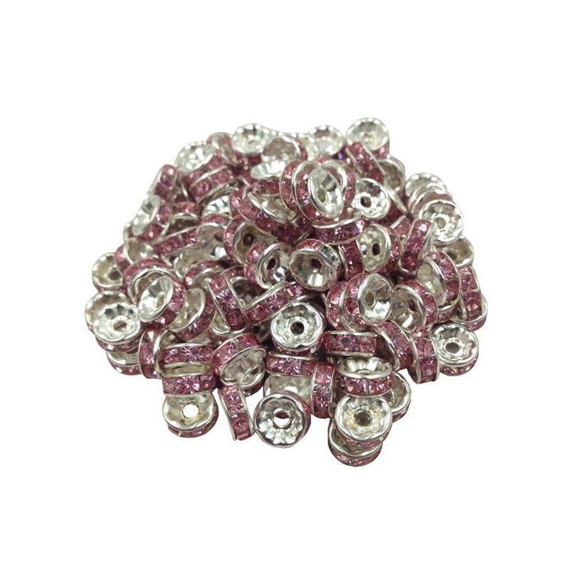 Lot 20 Perle Rondelle strass Argenté 8mm Couleur Mixte