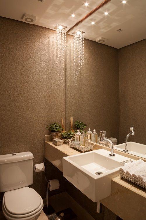 PAPEL DE PAREDE NO LAVABO E NO BANHEIRO  Bucalo  Banheiros  Pinterest  Blog -> Banheiro Moderno Com Papel De Parede