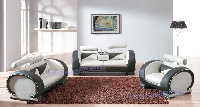 Amazon.com: Exquisite Modern Contemporary Leather Living Room Set ...